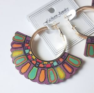 Fashion Jewelry Wooden Mandala Earrings